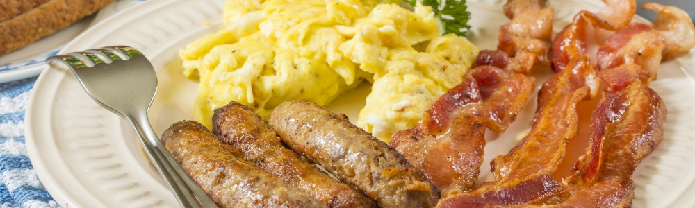 eggs and breakfast meat