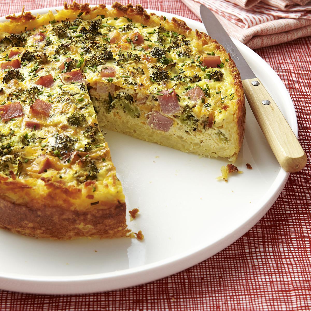broccoli, ham, and cheese quiche